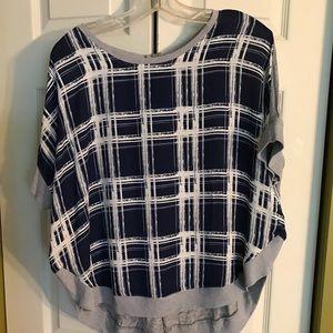 Nine West Baggy blue and grey plaid shirt